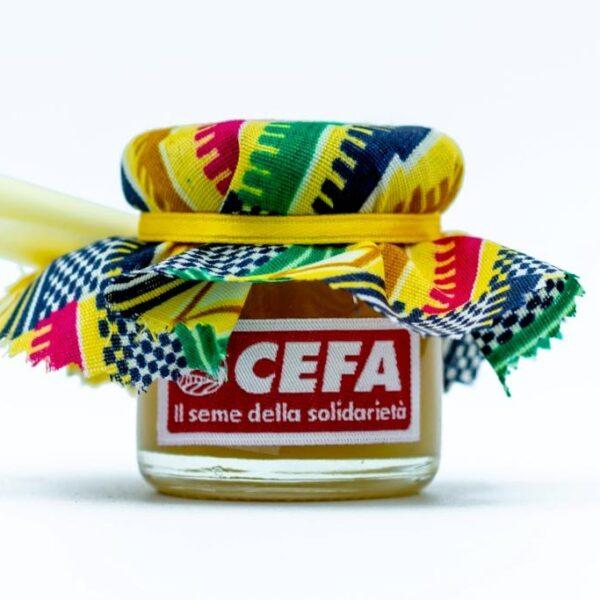 vasetto di miele solidale come bomboniera per sostenere apicoltura in Africa. Il vasetto di 40 gr è coperto da un colorato pezzo di stoffa africana, chiuso da un nastrino giallo. Questa stoffa è gialla rossa e verde