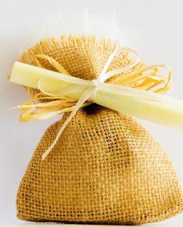 bomboniera evento speciale, sacchettino in yuta con pergamena