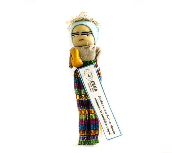 bomboniere cresima con confetti in sacchetti di tulle colorati e decorati con bamboline e oggetti tradizionali provenienti dal Guatemala con calamita sul retro e pergamena personalizzata